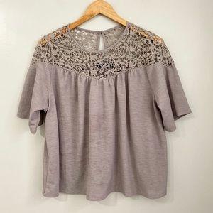 Apt. 9 Beige Boho Lace Trimmed Top Size M